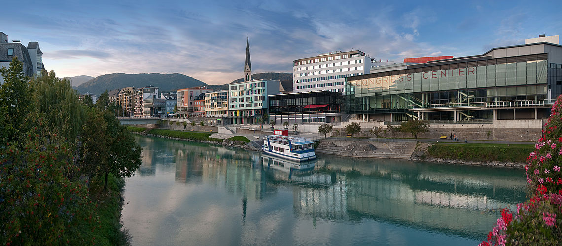 Landscape with the river in Villach