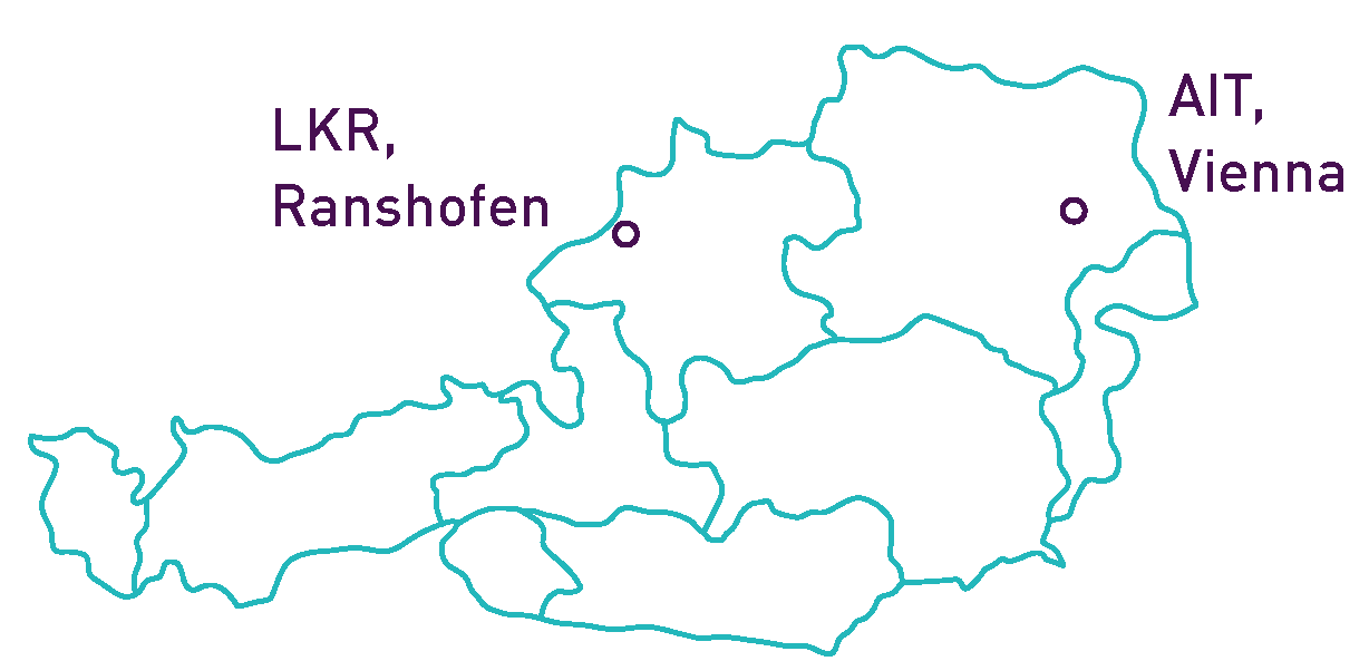 map location of LKR in Upper Austria and the AIT headquarter in Vienna
